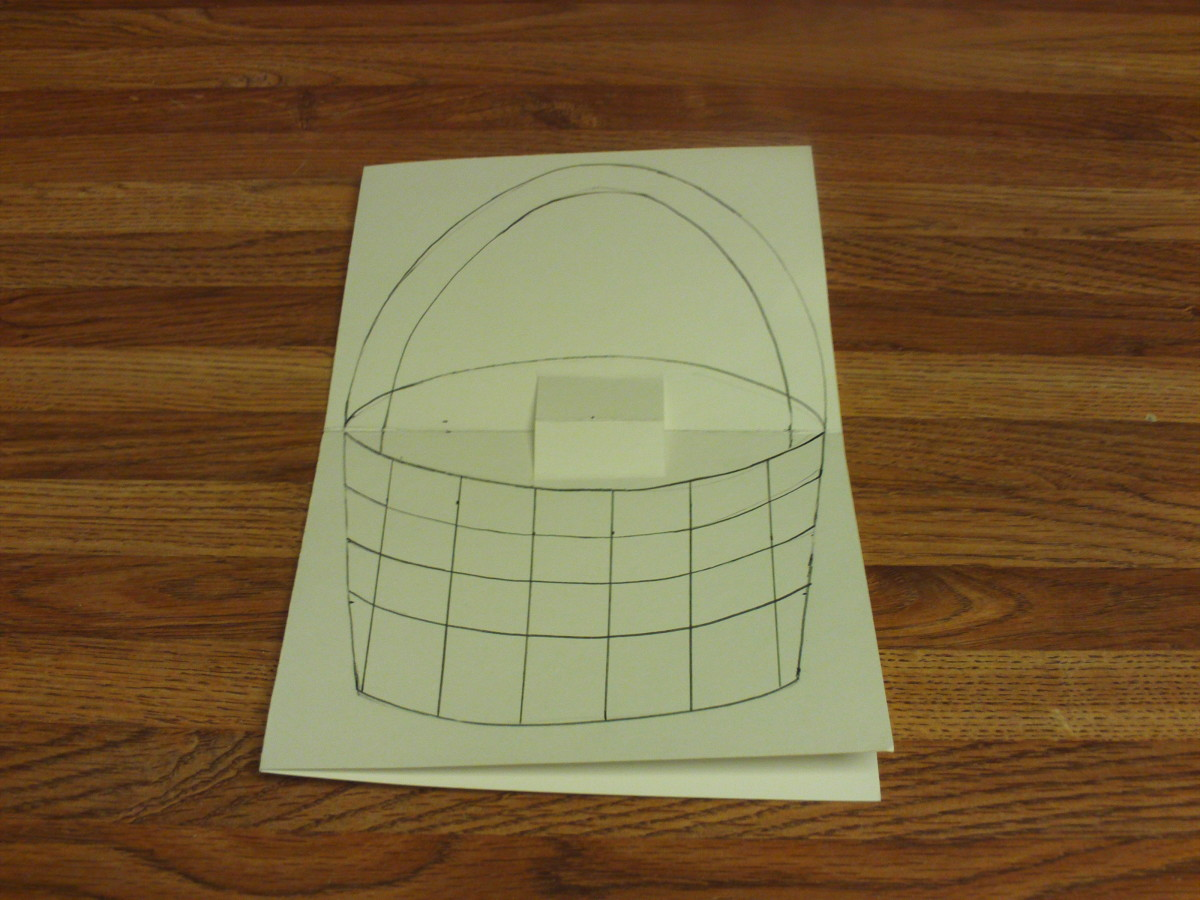 Here I drew the basket on the pop-up card.