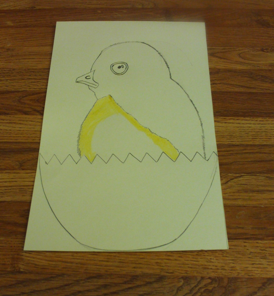 Here I am coloring in the light yellow feathers on the baby chick.