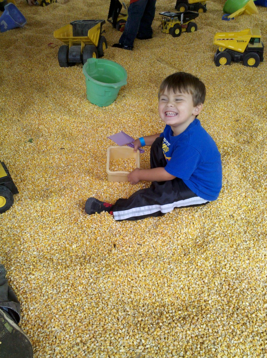 Playing in the corn box.