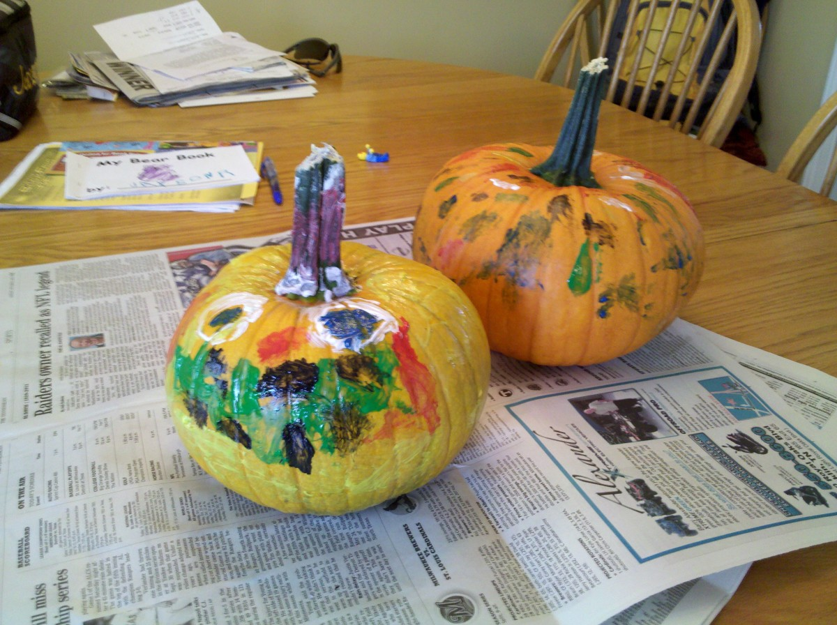 Our painted pumpkins for Halloween!