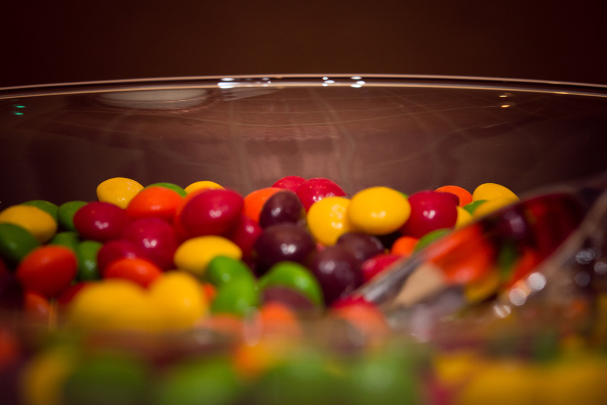 skittles in a giant martini glass
