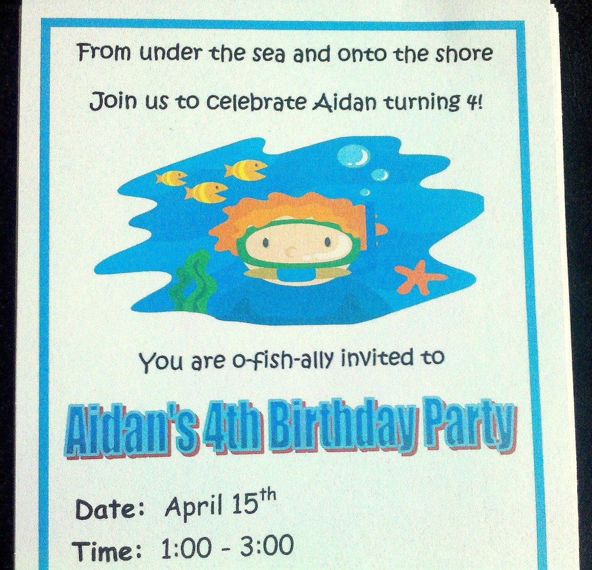 Our homemade ocean party invitations!