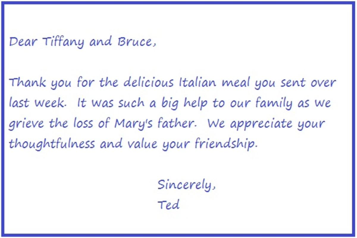 Thank you note for a meal