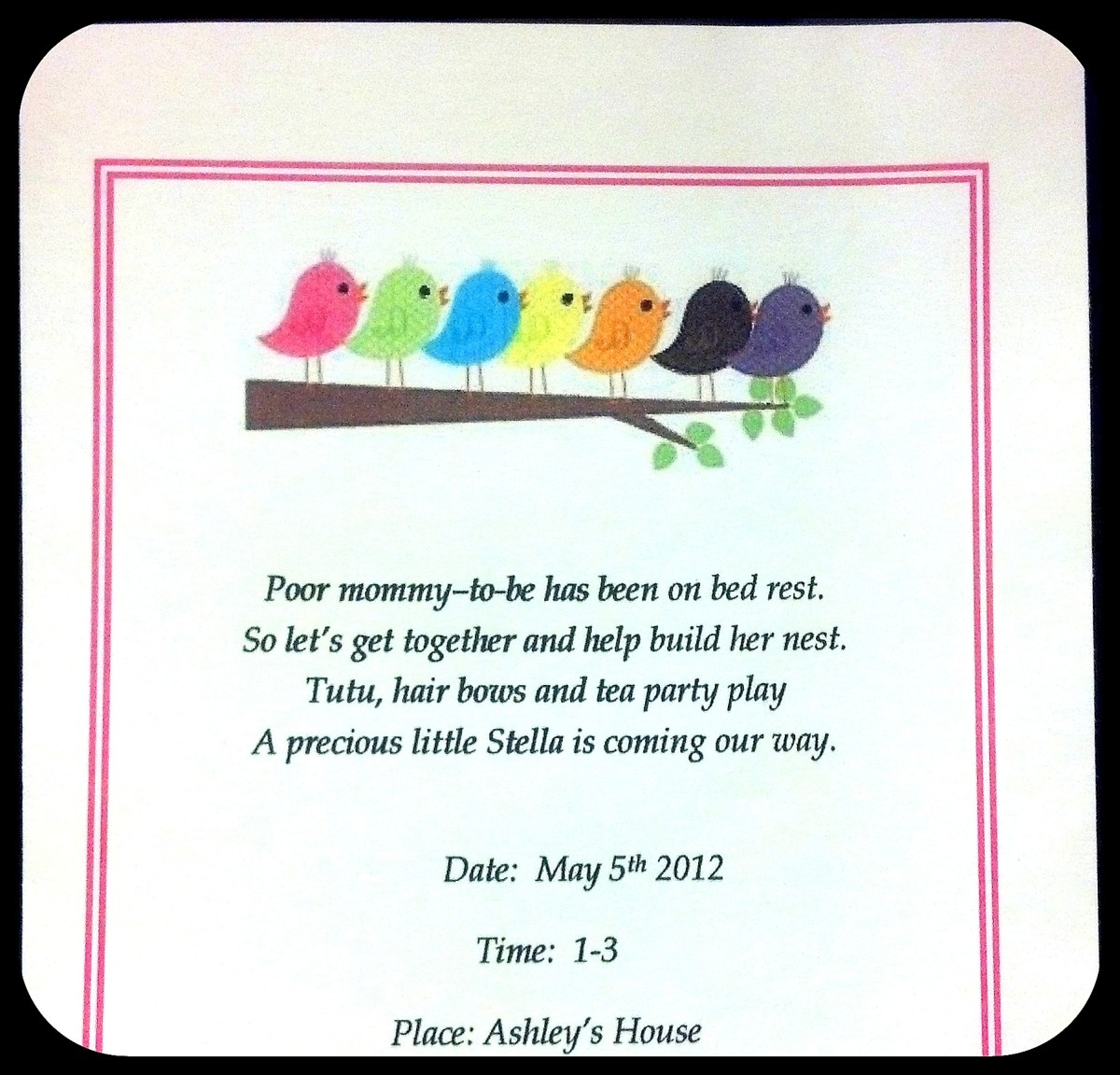 DIY bird-themed baby shower invitations.