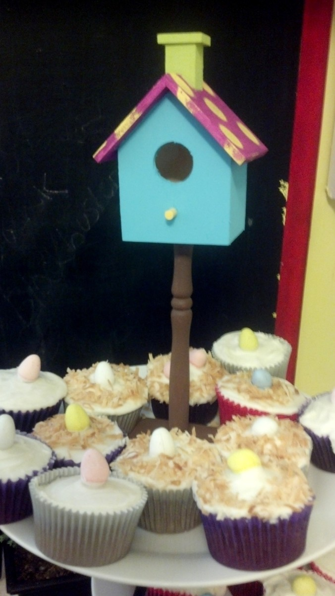 Our bird's nest cupcakes topped with coconut and mini Cadbury eggs.