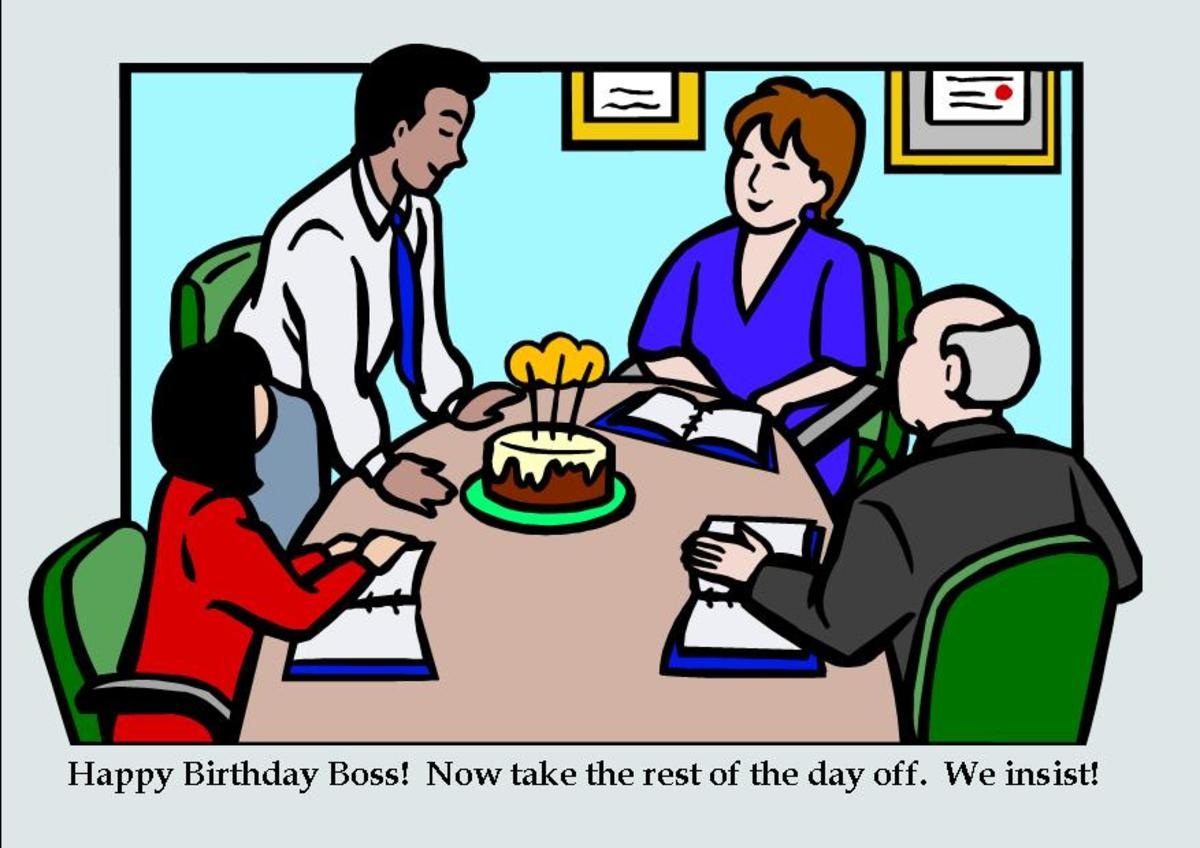 Here's an example of a funny birthday card for a boss.