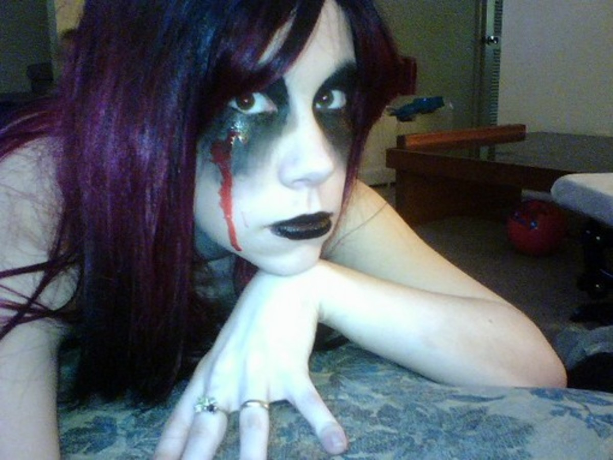 Ghost Makeup With a Bloody Tear