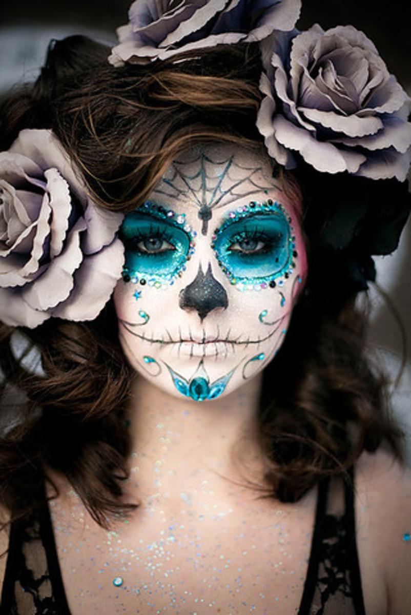 Glittery Voodoo Sugar Skull Makeup