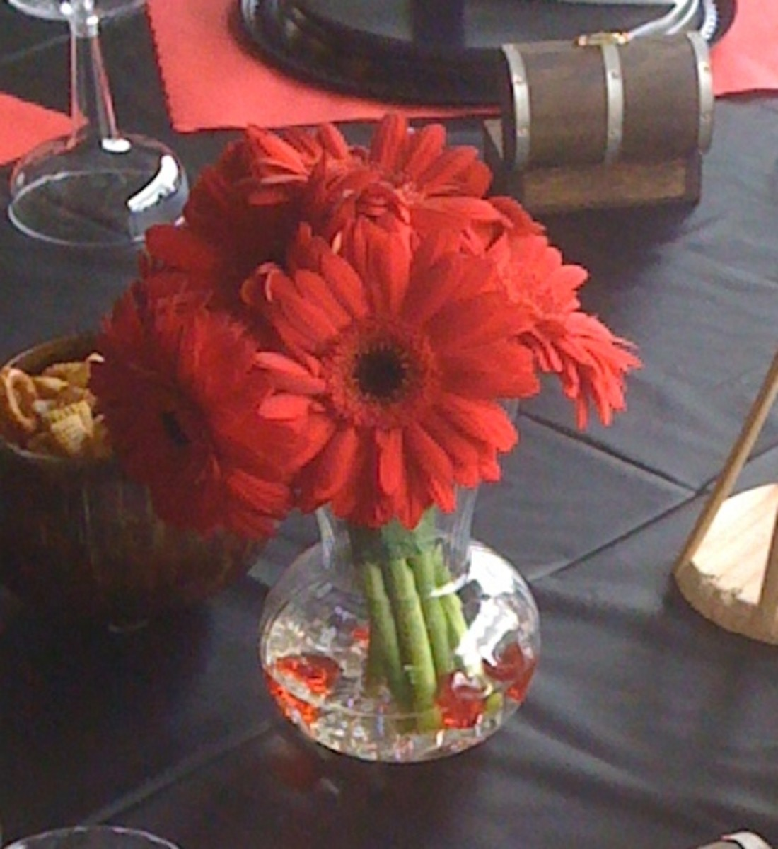 Fun and festive table decorations from the Brooks pirate wedding.
