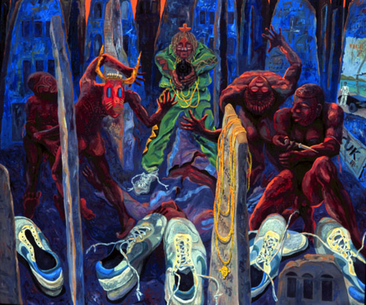 Oil on canvas - great inspiration for your cemetery themed end of world party.
