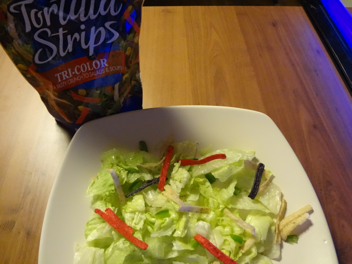 Tortilla strips are crunchy chips made to garnish salads.