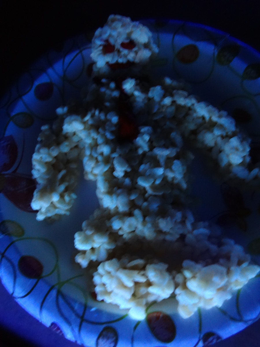 Glowing Rice Krispies treats with icing.