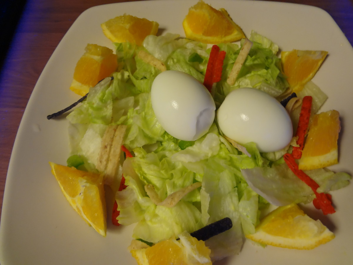 The salad in normal light.