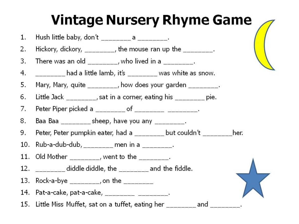 Complete the nursery rhyme game for baby shower in pink color