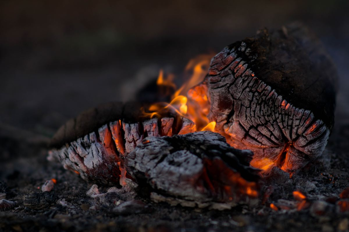 A Yule log is decorated before being burned.