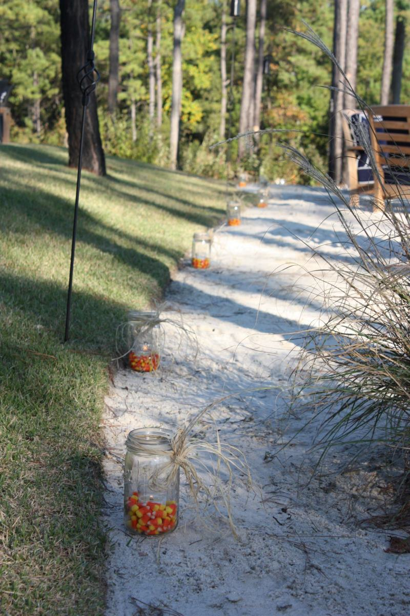 Candy corn luminaries for a fall wedding.