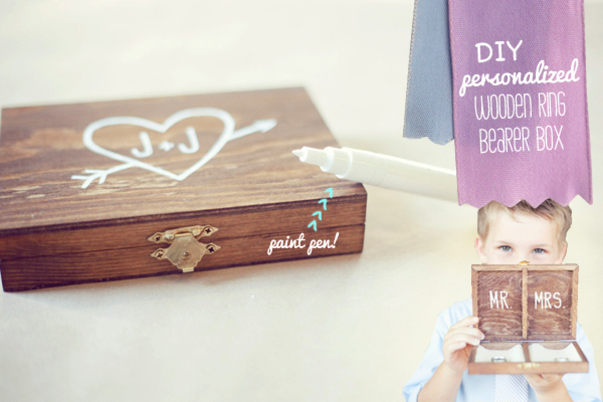 The wooden box is so cool and ideal for those wedding rings. Any child any size can carry it safely. Use Marker Paint to add your own heart and initials with Mr. and Mrs on the inside.