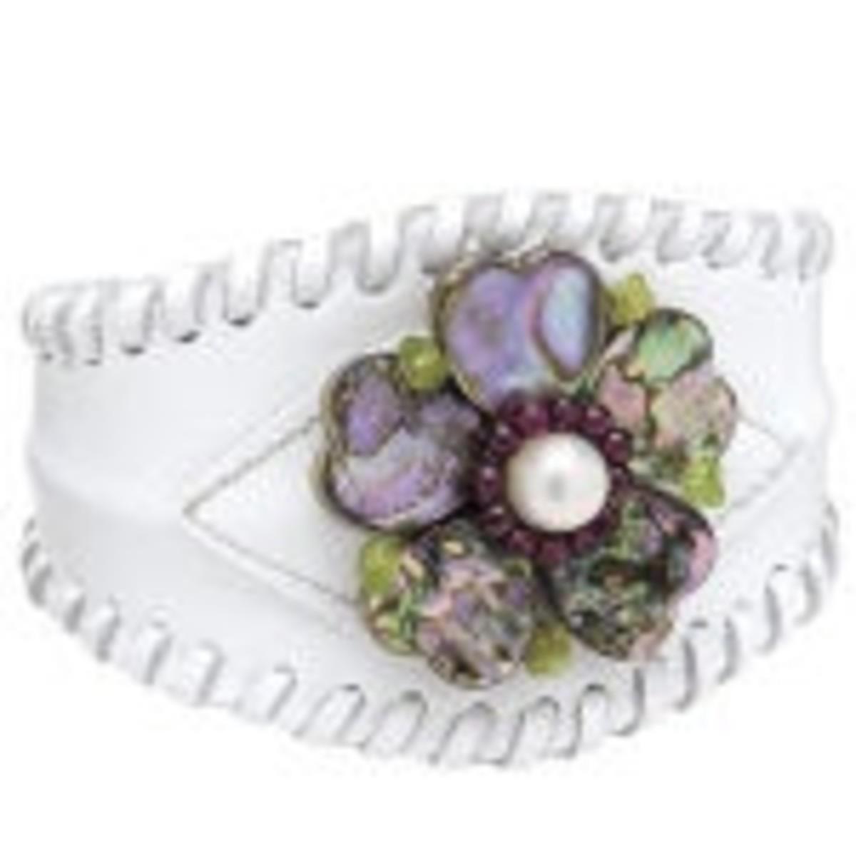 leather cuff for biker wedding jewelry
