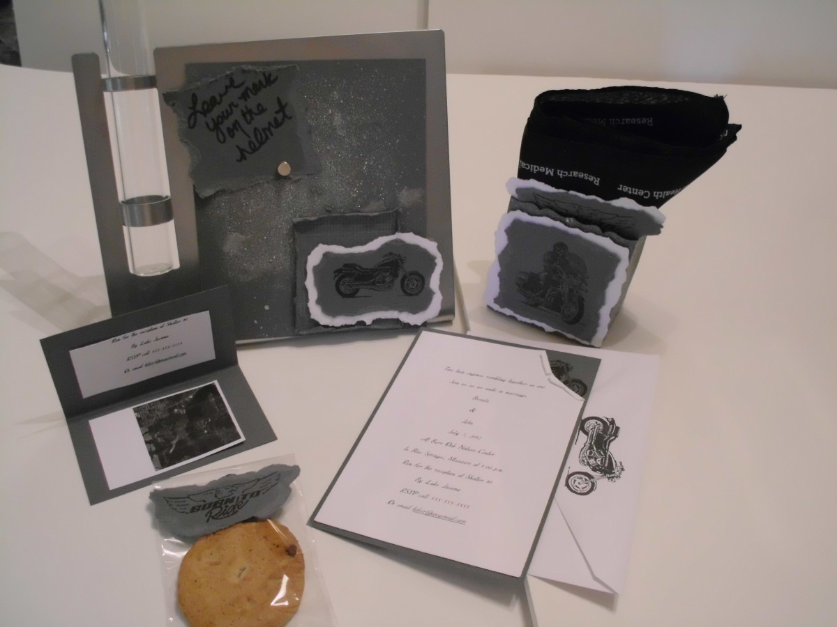 Biker theme, Magnetic frame, favor bags and invitation all hand crafted.