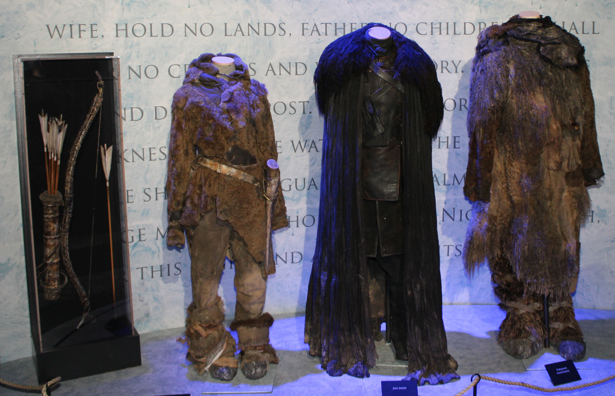 The official costumes of Ygritte, Jon Snow, and Tormund Giantsbane