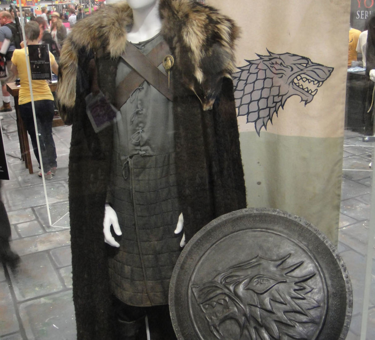 The official Eddard Stark costume at an HBO booth.