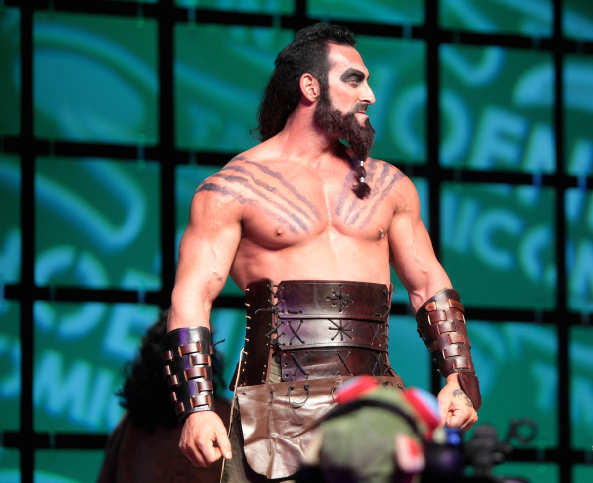A Khal Drogo cosplayer.