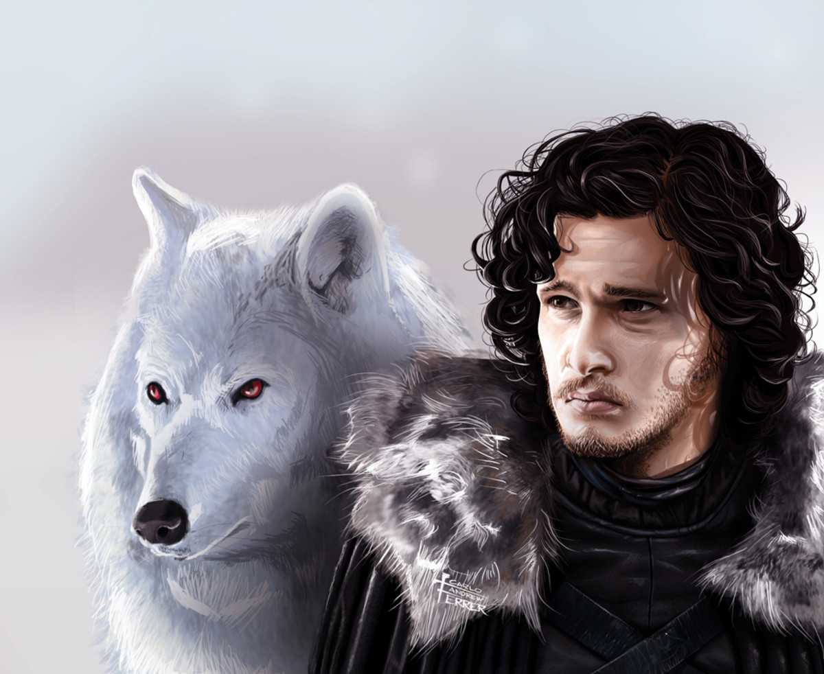 Jon Snow with his dire wolf, Ghost