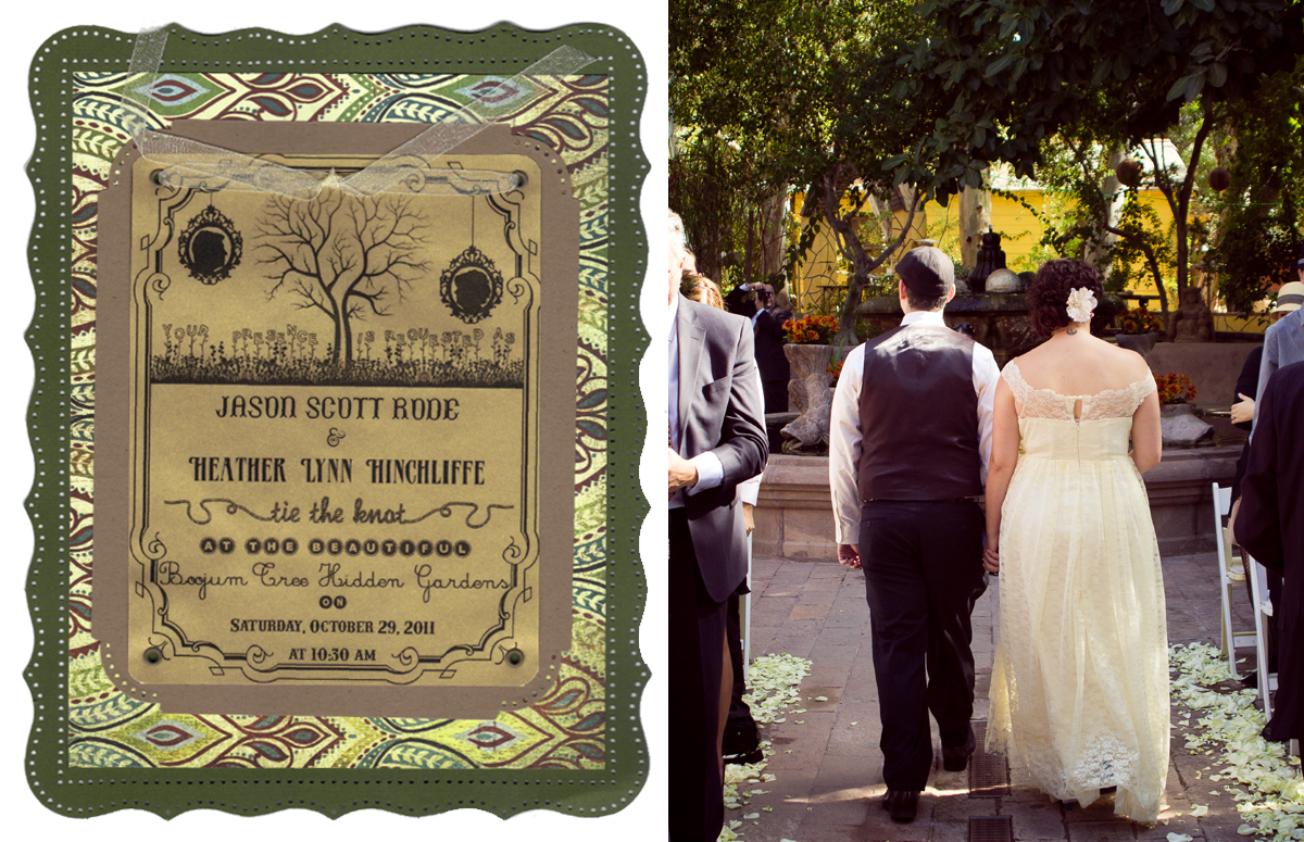 A scan of our wedding ceremony invitation (left) inspired by our garden wedding venue.  My husband and I officially married (right).