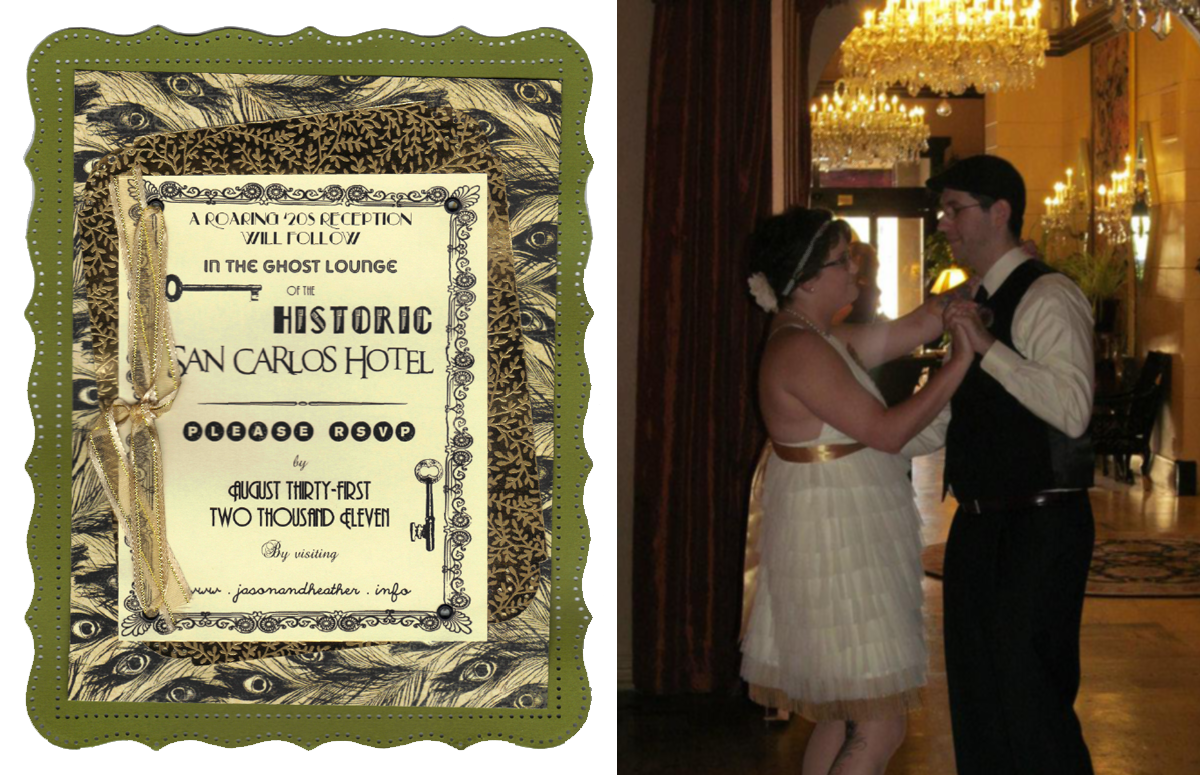 A scan of our wedding reception invitation (left) inspired by our historic 1920s hotel venue.  My husband and I dancing (right).