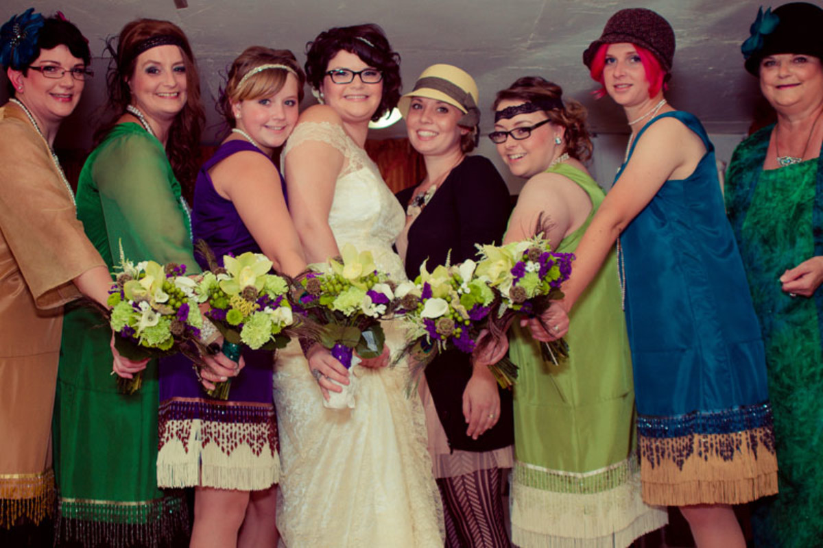 the dresses worn by my flapper bridesmaids inspired the color schemes used in our invitations