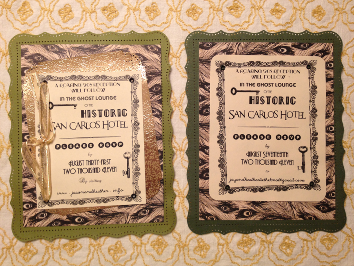 two versions of our reception invitation