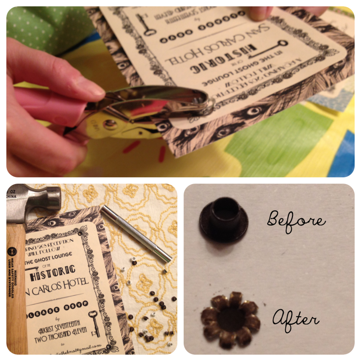 Using eyelets can help protect your paper invitations, especially if you plan on using ribbon for decoration.