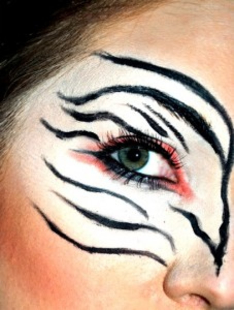 Zebra Makeup Around Eye with Zebra Face Paint For Halloween
