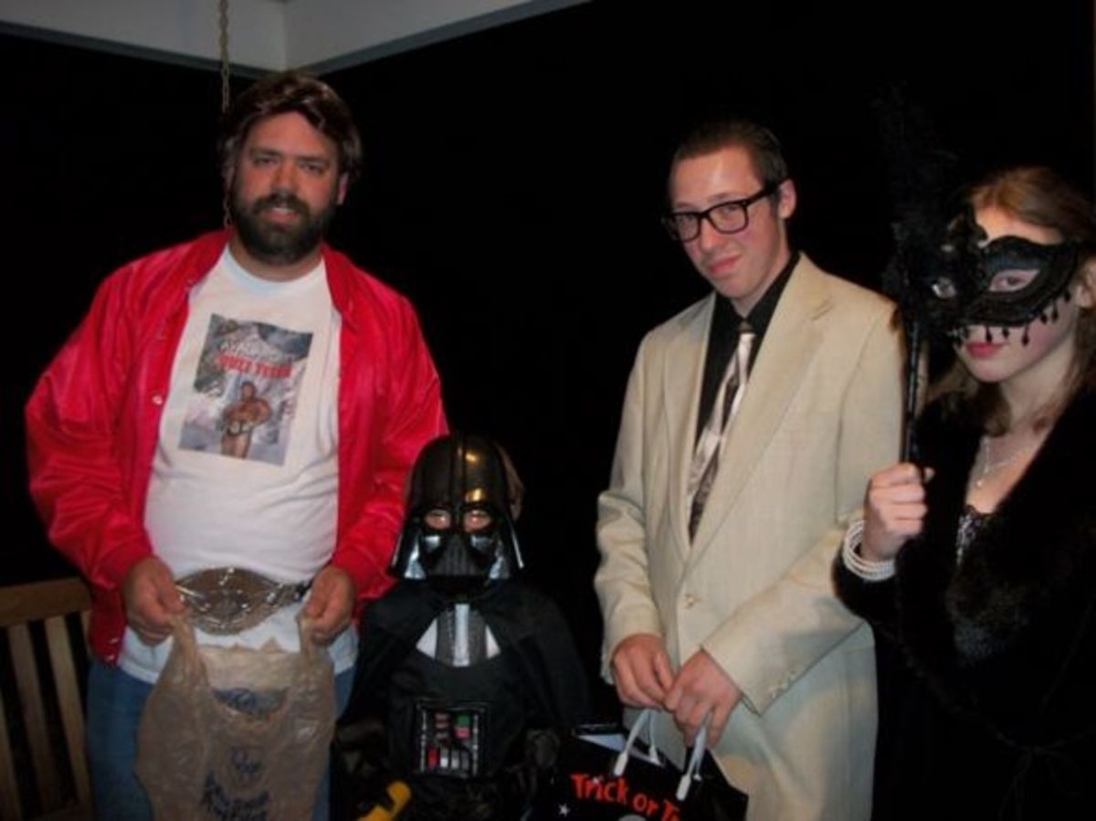 One-house trick-or-treat at Grandma's featured wrestler Buzz Tyler, Darth Vader, Buddy Holly, and the Countess of Deadwood Manor.