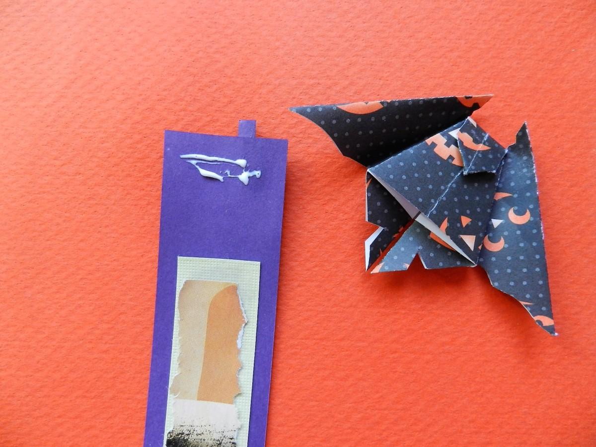 Dab glue on decorated strip.