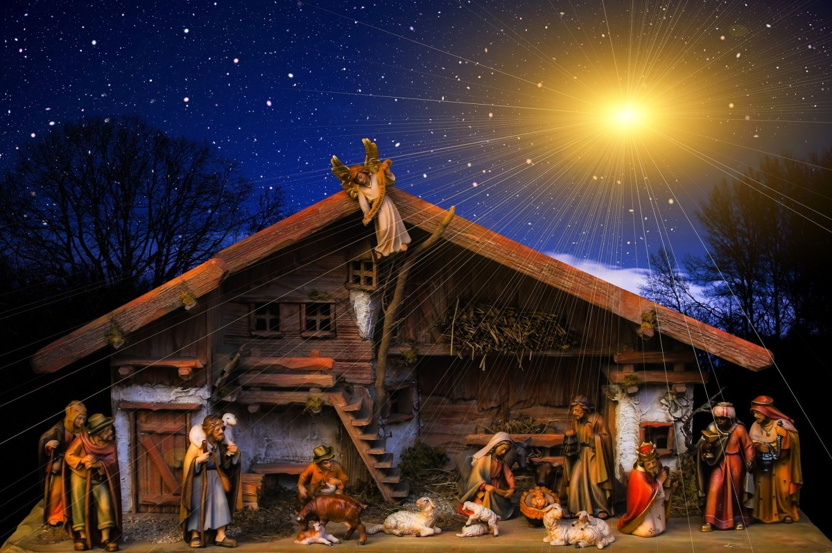 A nativity scene depicts the birth of Jesus.