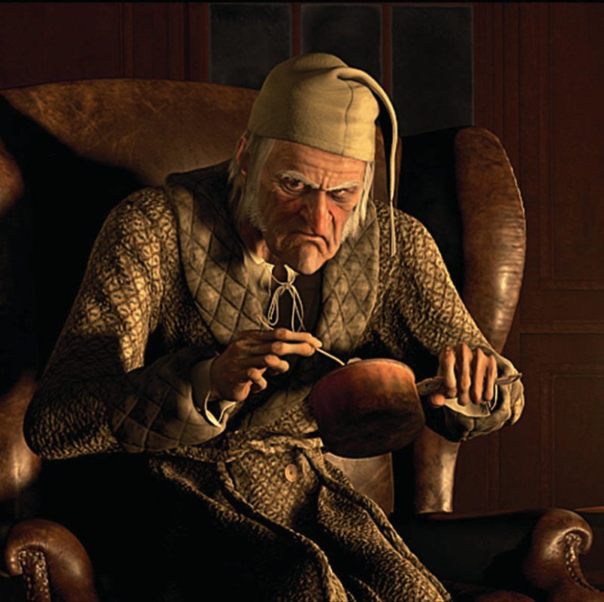 "Scrooge is a greedy miser from ""A Christmas Carol."""