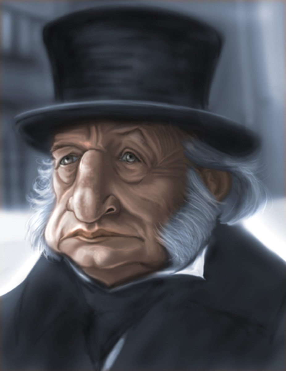 "Cartoon of George C. Scott as 'Scrooge', starring in the 1984 film ""A Christmas Carol"""