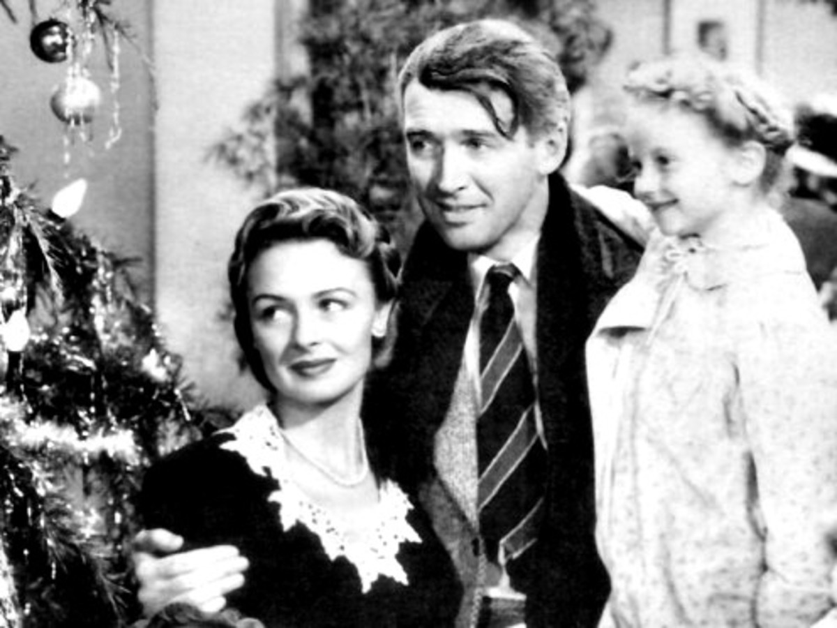 "George and Mary Bailey With Zuzu in ""It's A Wonderful Life"""