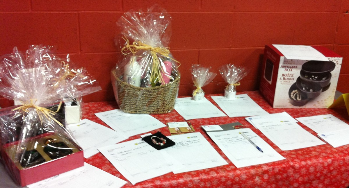 Silent auction table at a Zumba fundraiser.