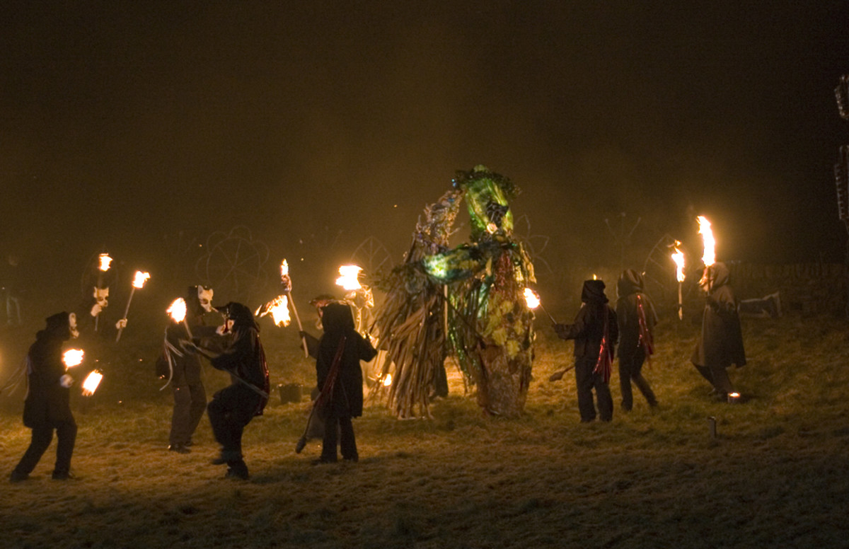 Imbolc, which has been celebrated for thousands of years, is still celebrated today. This photo is from Marsden, West Yorkshire, England, in 2005. People dance with torches around the Green Man, who is fighting Jack Frost to bring Spring from Winter.
