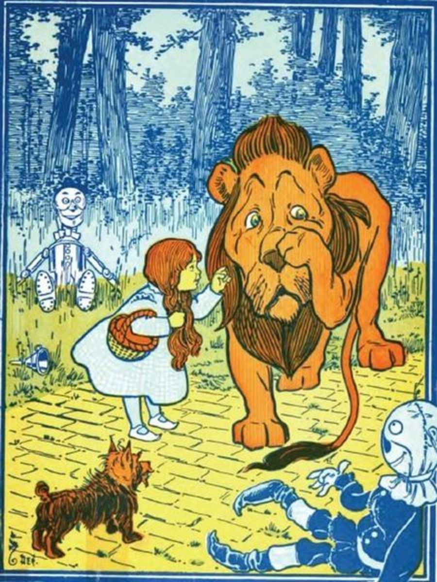 Dorothy and the Cowardly Lion. Original illustration from the book.