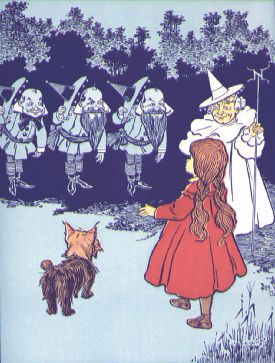 Dorothy meets the Munchkins. Original illustration from the book.