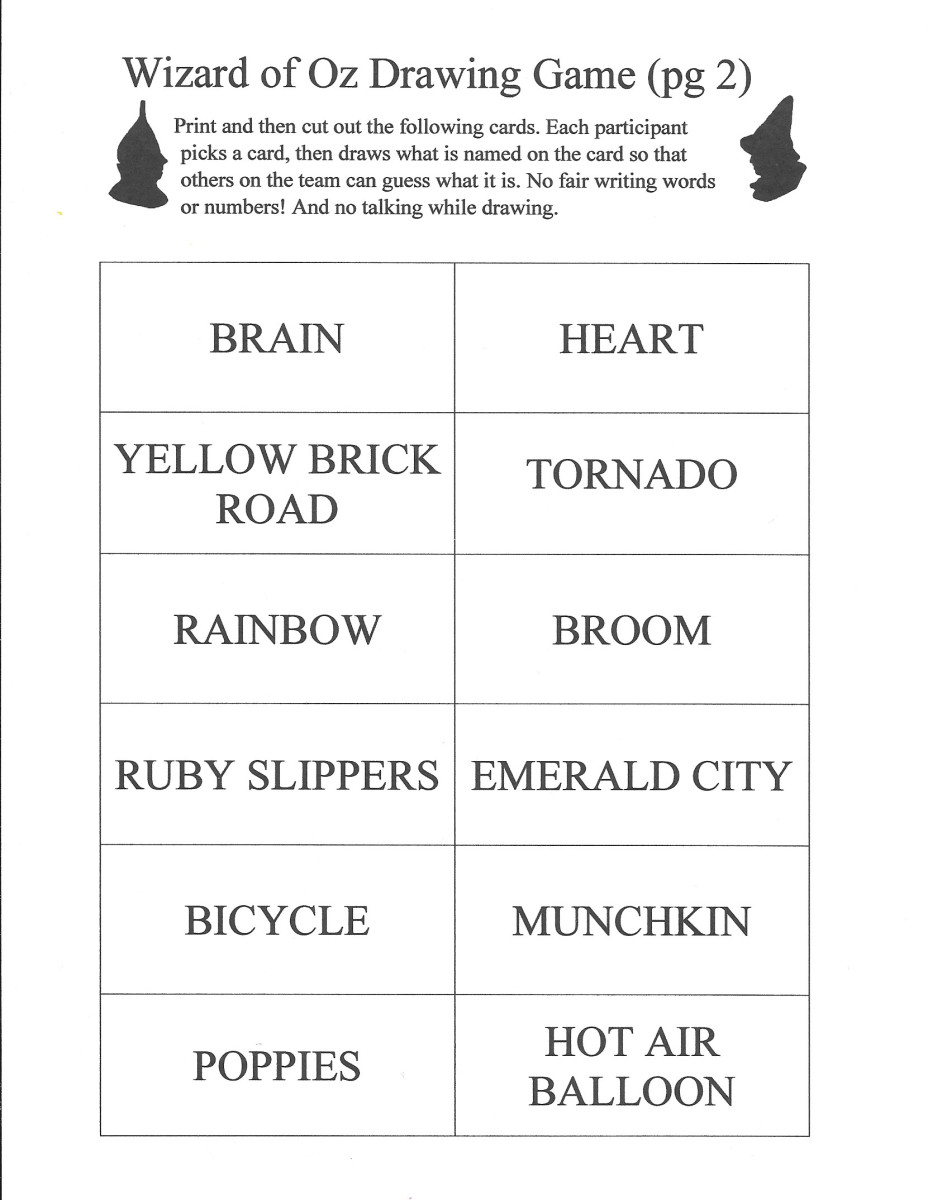 Here is a photo of page 2 of the items for the Wizard of Oz Drawing Game. You can get the .pdf to print by clicking on the orange link at the beginning of this article.