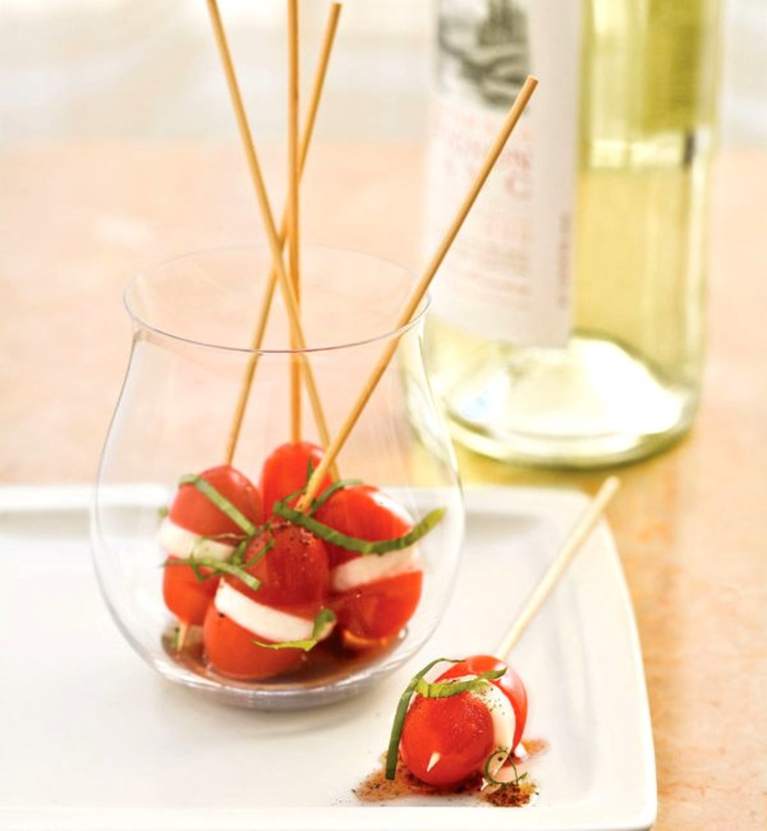 This Easter appetizer is a version of a Caprese salad on skewers.