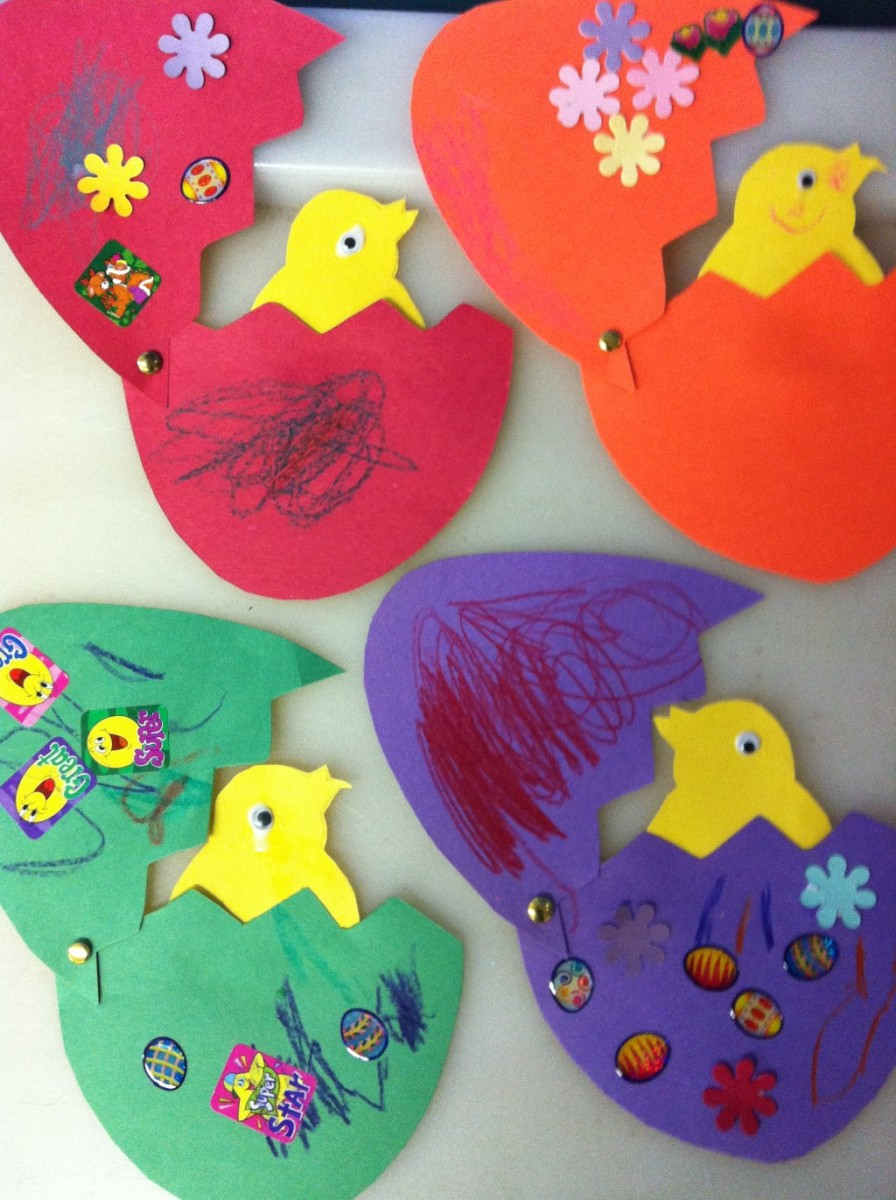 The fasteners used in this craft allow these decorative eggs to be opened and closed.