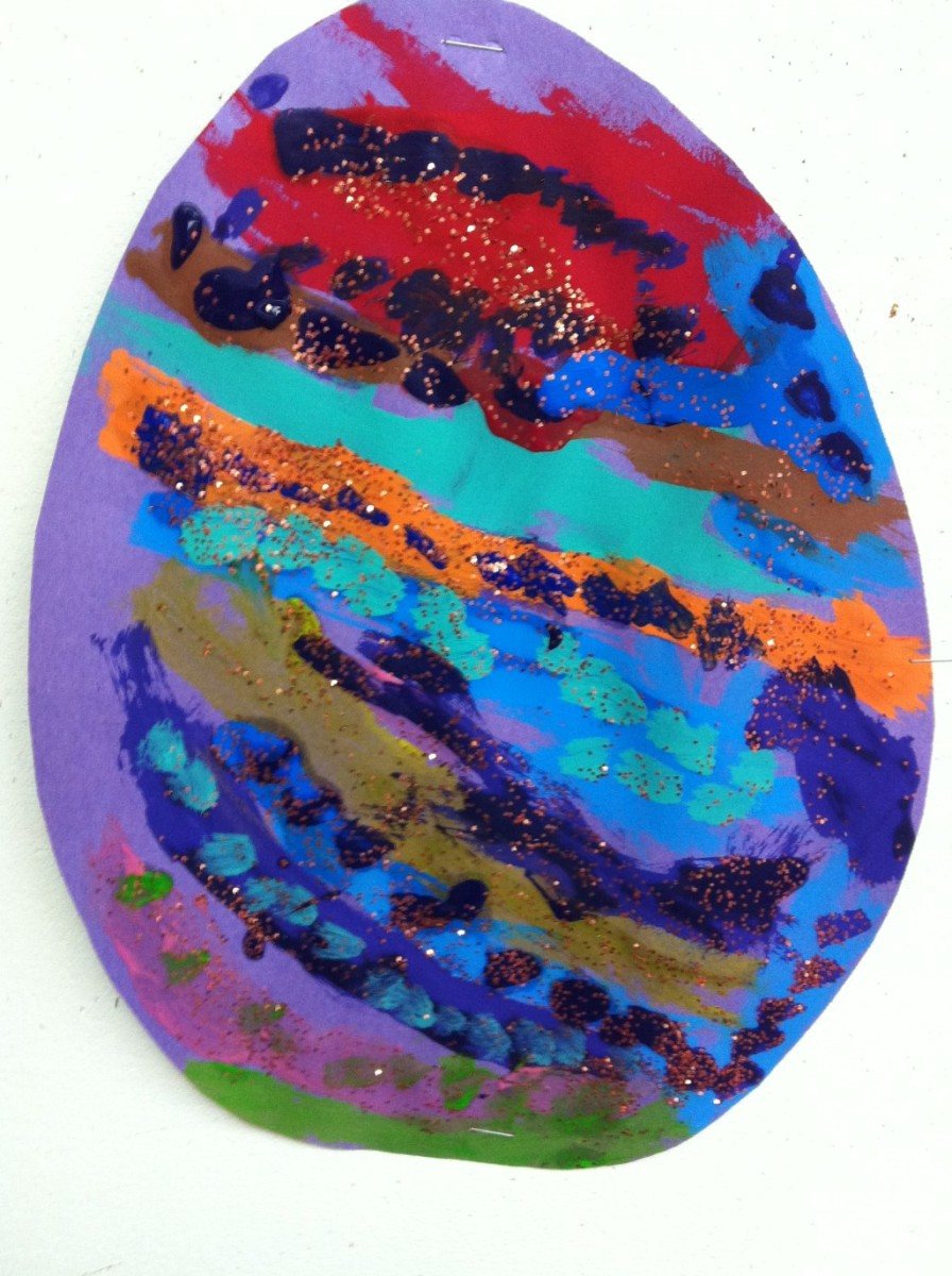 Real eggs are small and difficult to decorate. Large construction paper eggs provide more room for creativity!