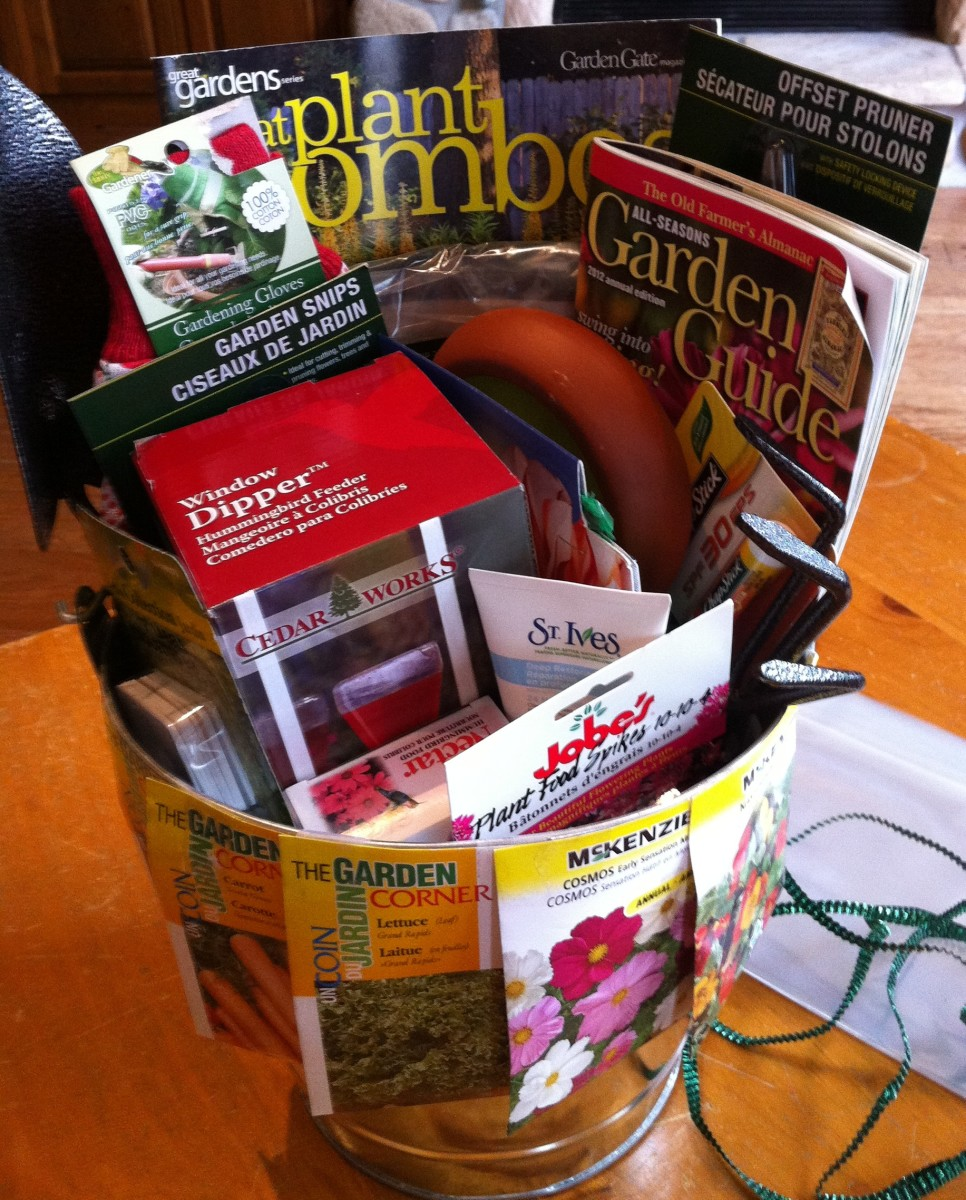 Gardener's gift basket, ready to be wrapped.