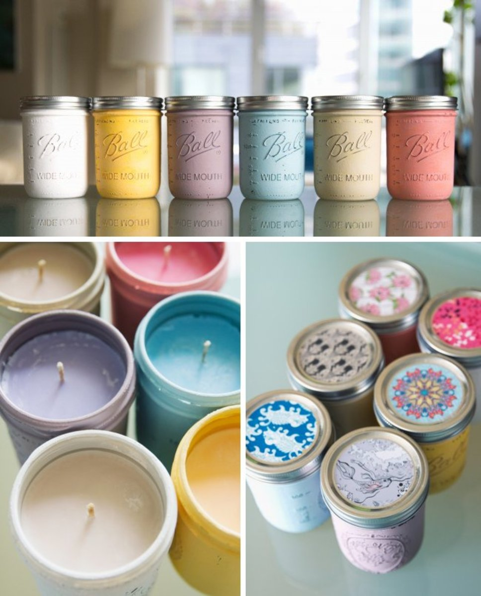 Homemade scented candles in super cute painted jars.