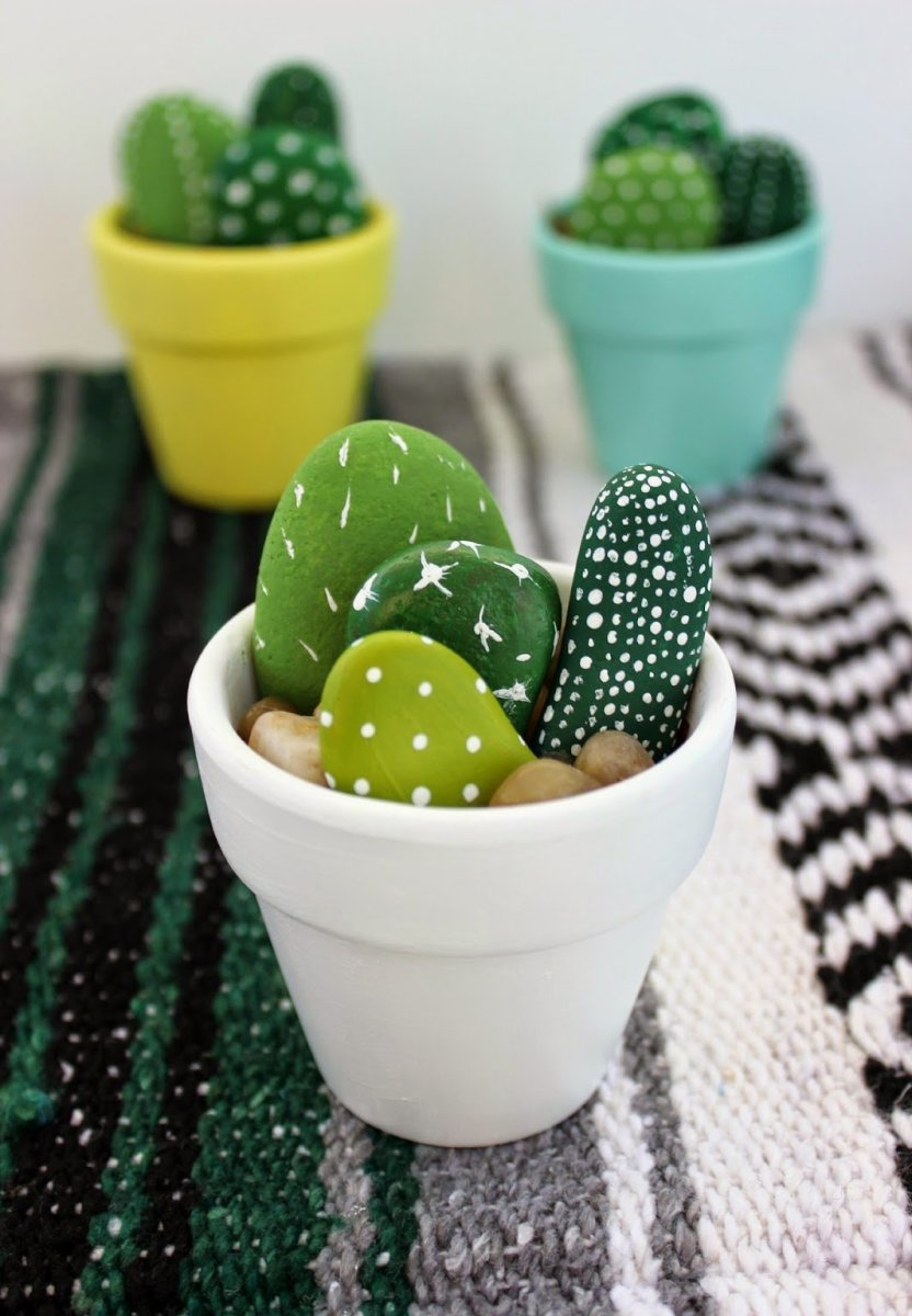 Here is a plant that will never die—a painted rock cactus. Nice handmade gift from child to mom.